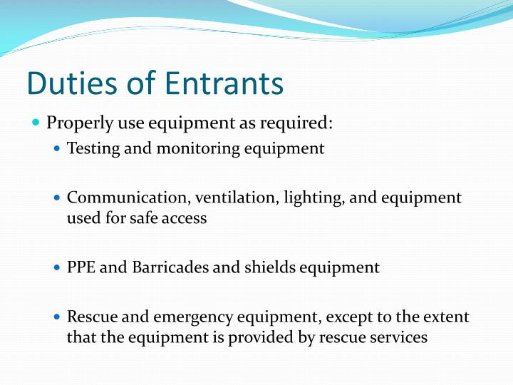 Duties of Entrants