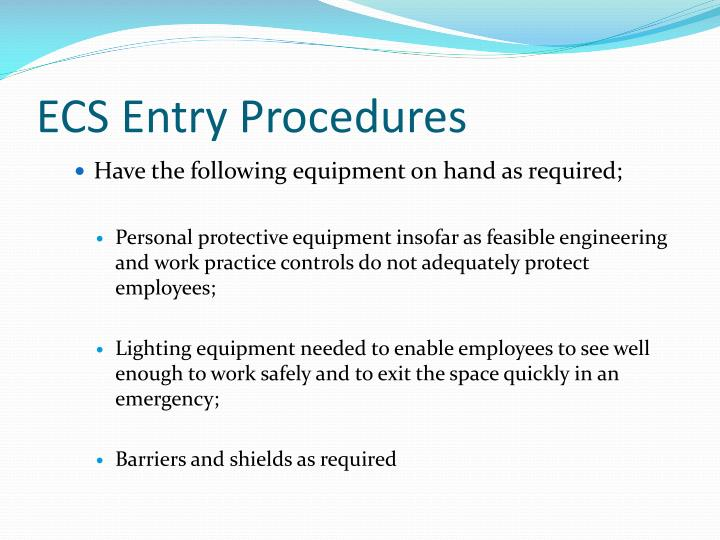 ECS Entry Procedures