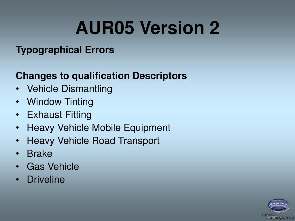AUR05 Version 2