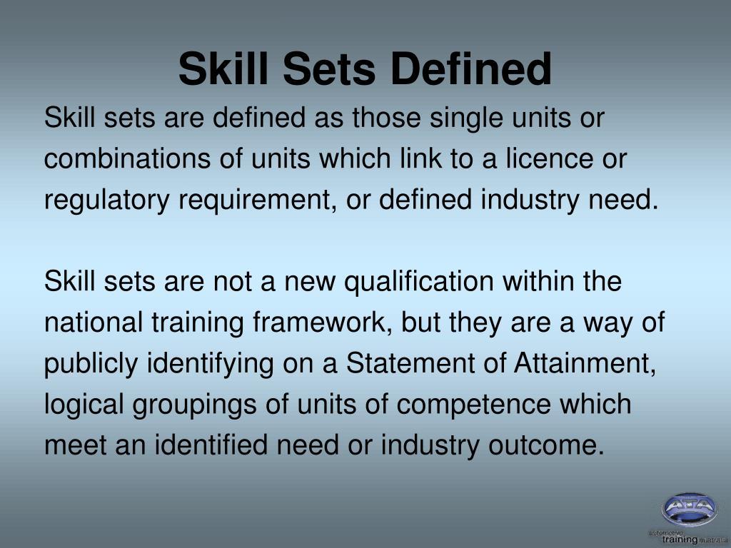 Skill Sets Defined