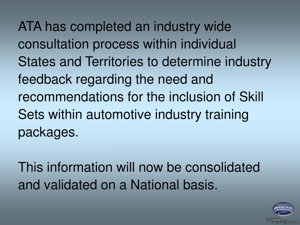 ATA has completed an industry wide