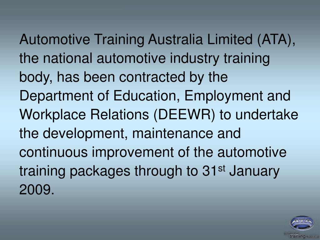 Automotive Training Australia Limited (ATA),