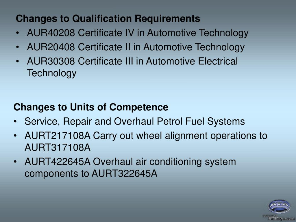 Changes to Qualification Requirements