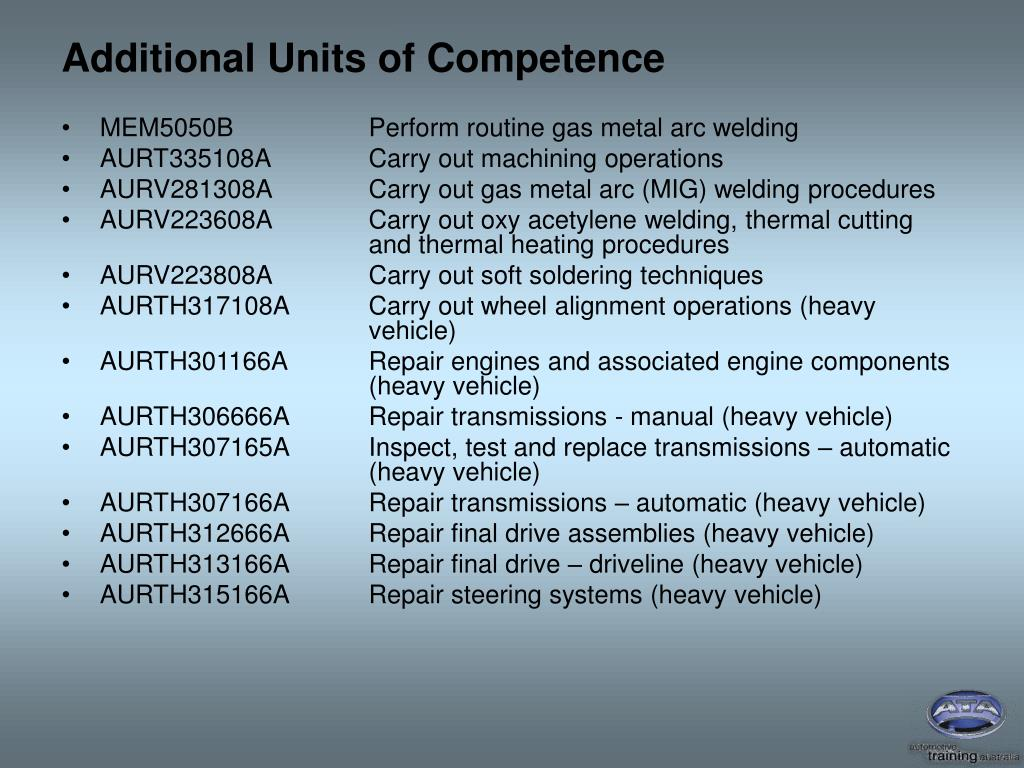 Additional Units of Competence