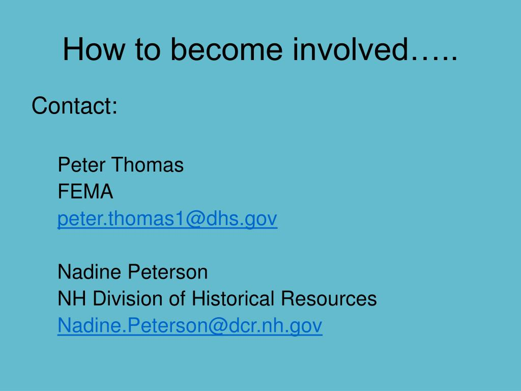How to become involved…..