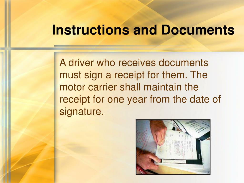 Instructions and Documents