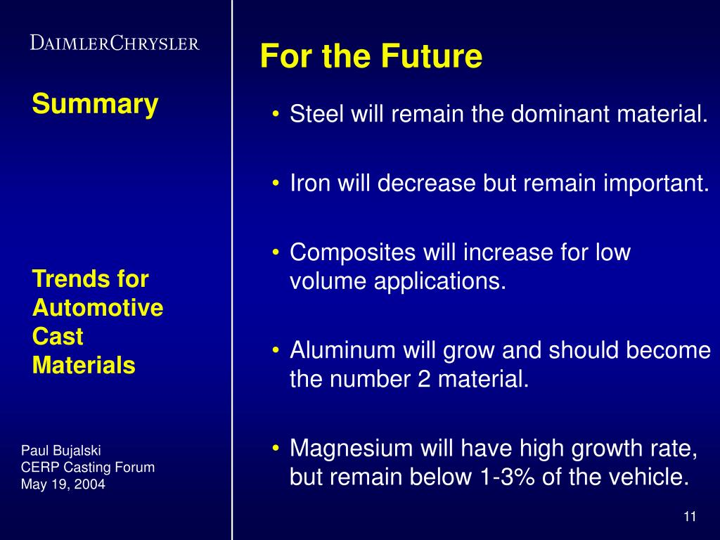 Steel will remain the dominant material.