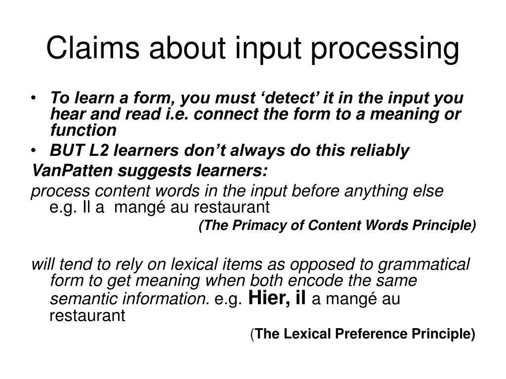 Claims about input processing