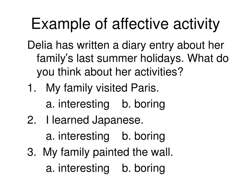 Example of affective activity