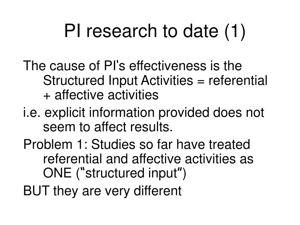 PI research to date (1)
