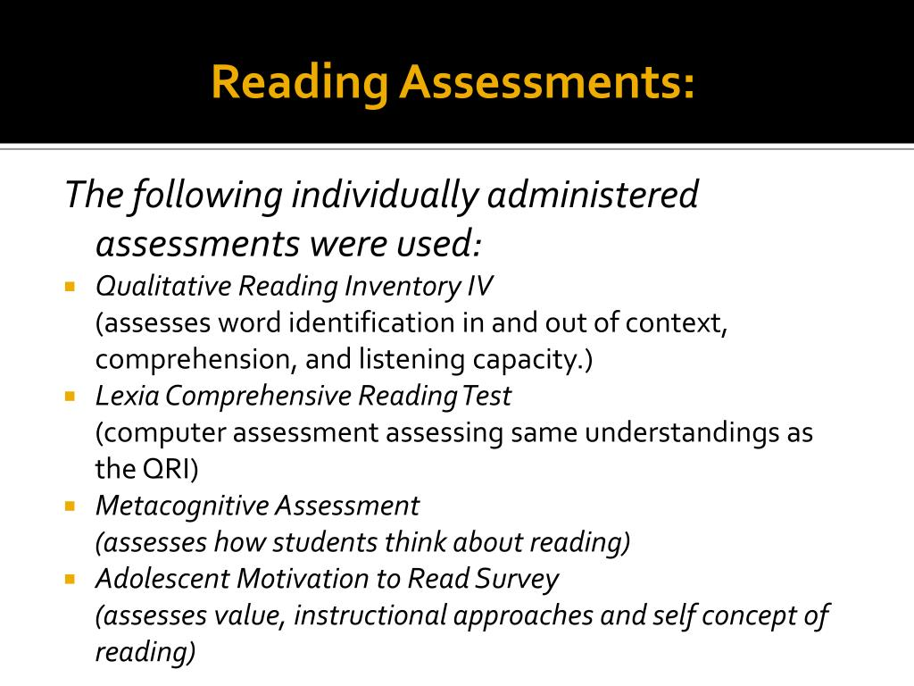 Reading Assessments:
