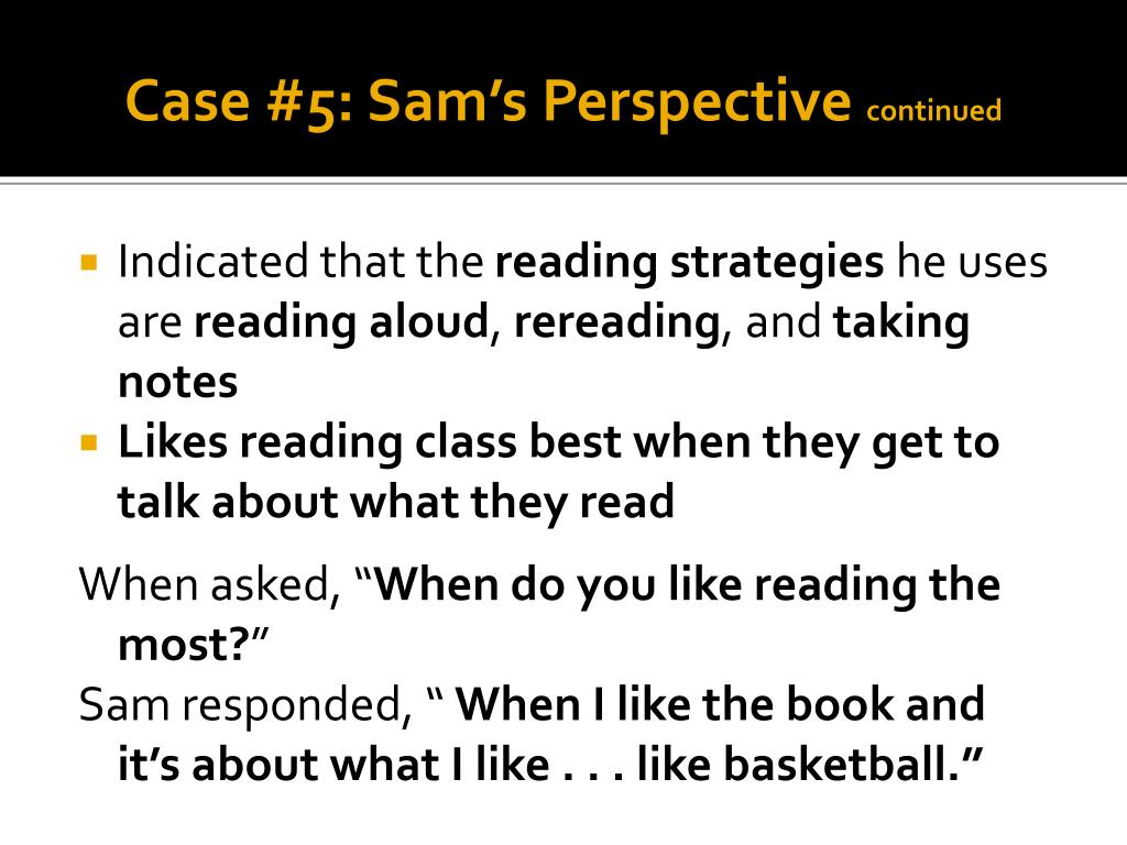 Case #5: Sam's Perspective
