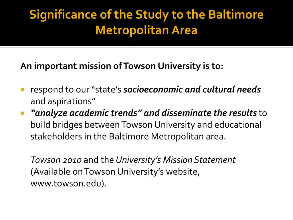 Significance of the Study to the Baltimore Metropolitan Area