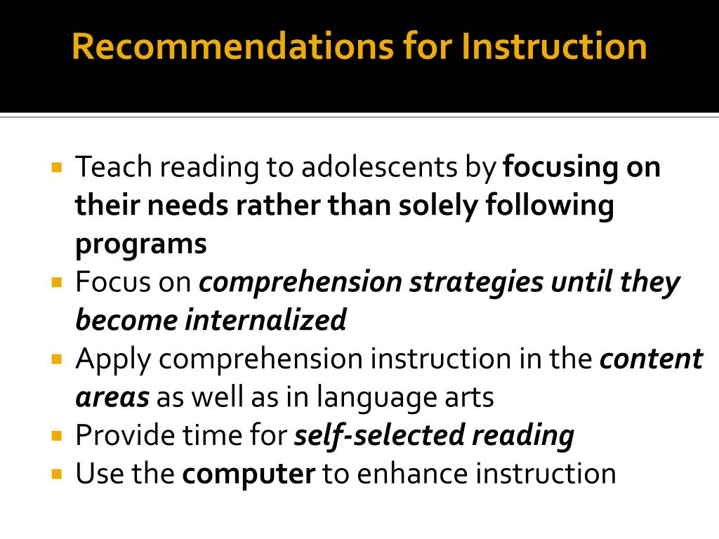 Recommendations for Instruction