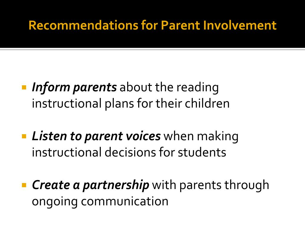 Recommendations for Parent Involvement