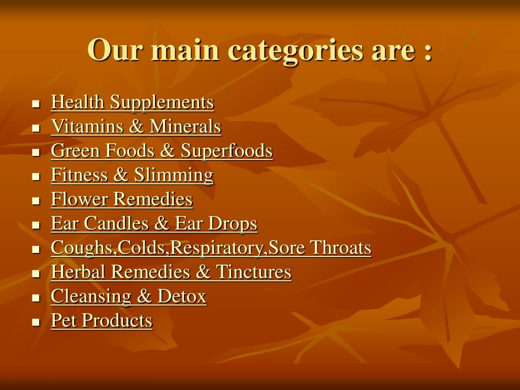 Our main categories are :