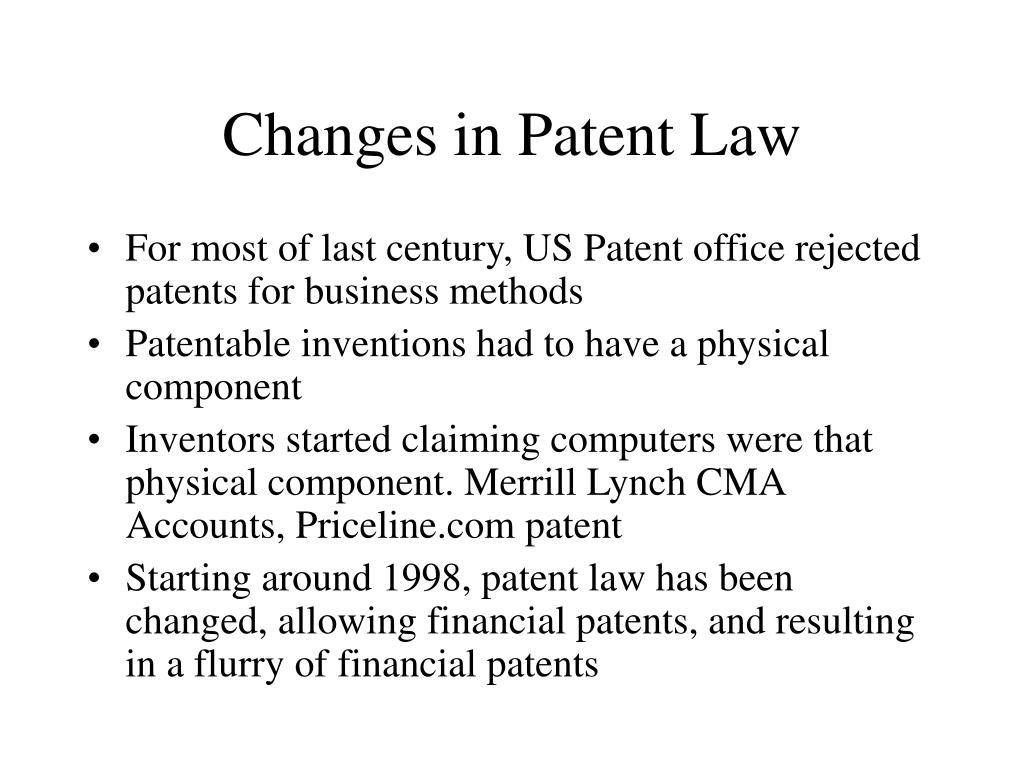 Changes in Patent Law