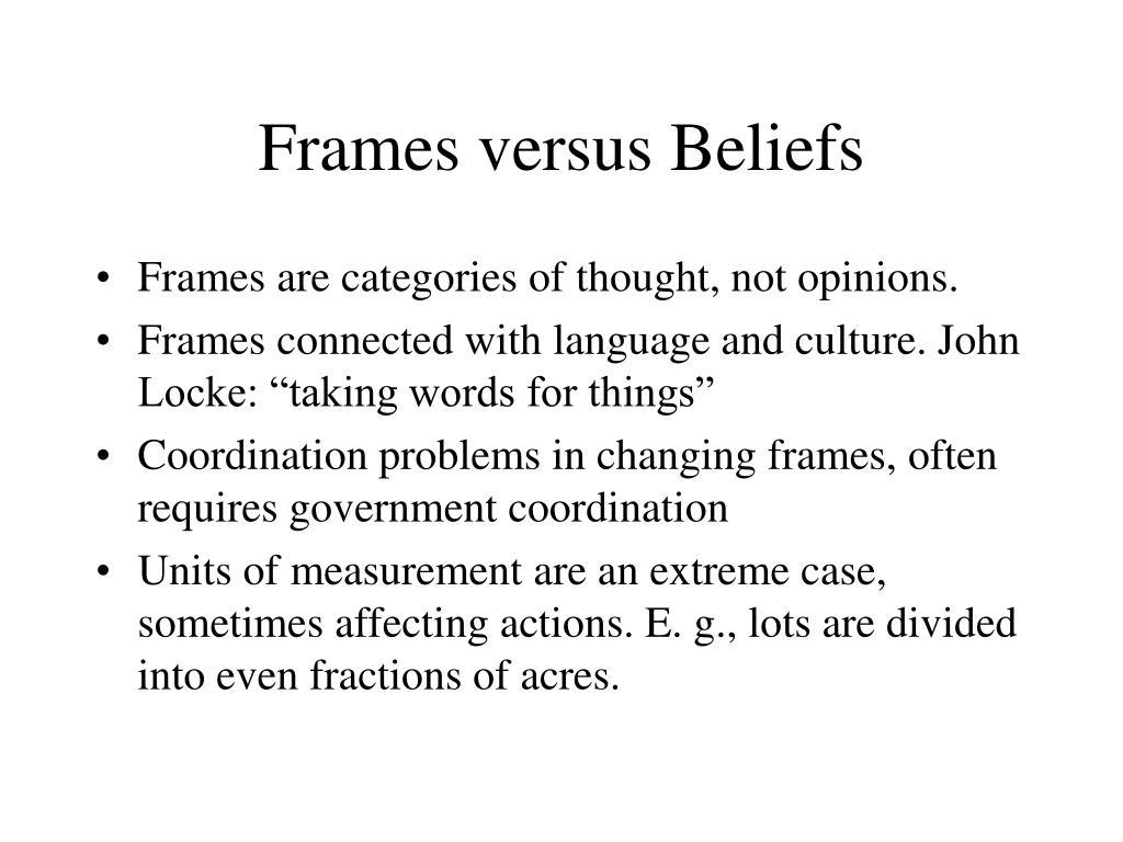 Frames versus Beliefs