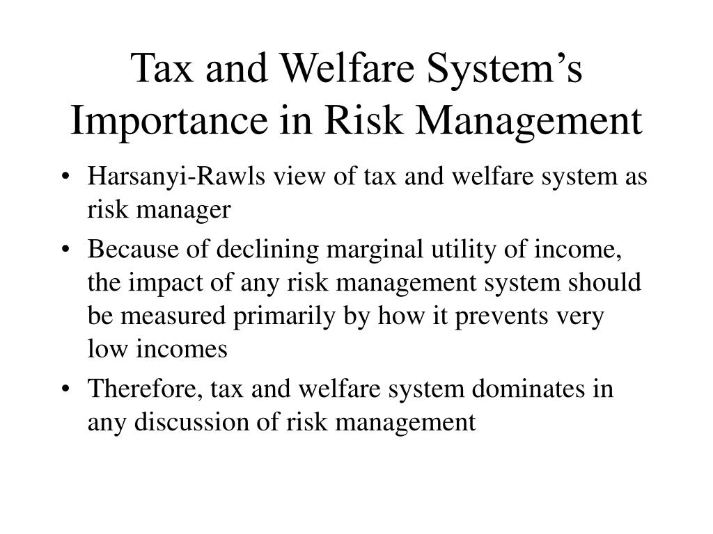 Tax and Welfare System's Importance in Risk Management