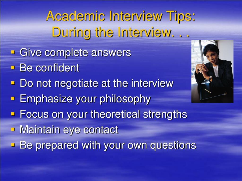 Academic Interview Tips:
