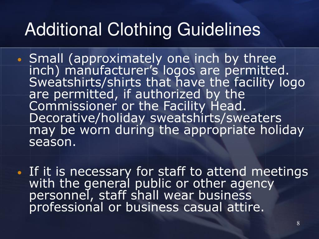 Additional Clothing Guidelines