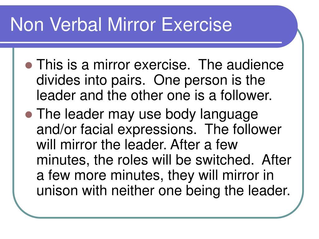 Non Verbal Mirror Exercise