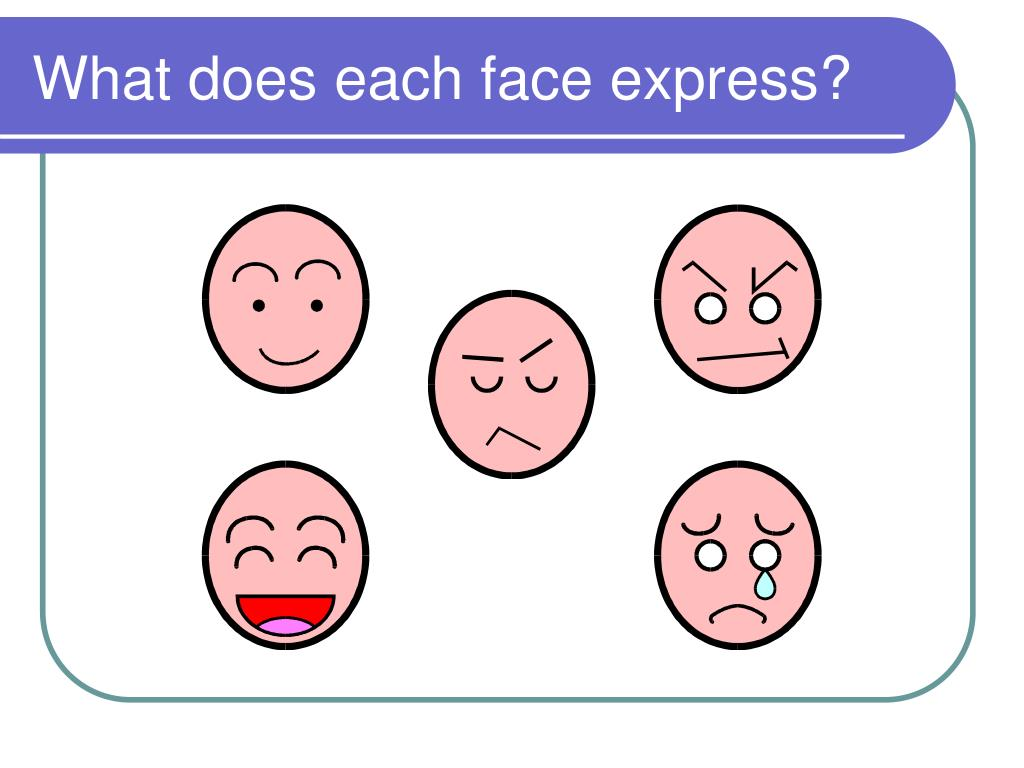What does each face express?