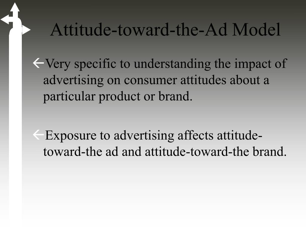 attitude towards advertising Everyone can use advertisements but they must obey the law there are many  types of advertisement that can influence consumer's attitude to buy a product.