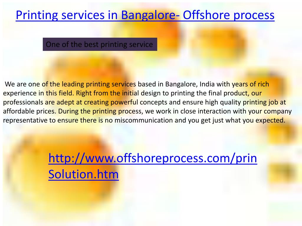 Printing services in Bangalore- Offshore process