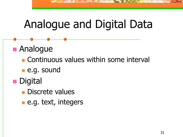 Analogue and Digital Data