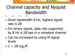 channel capacity and nyquist bandwidth