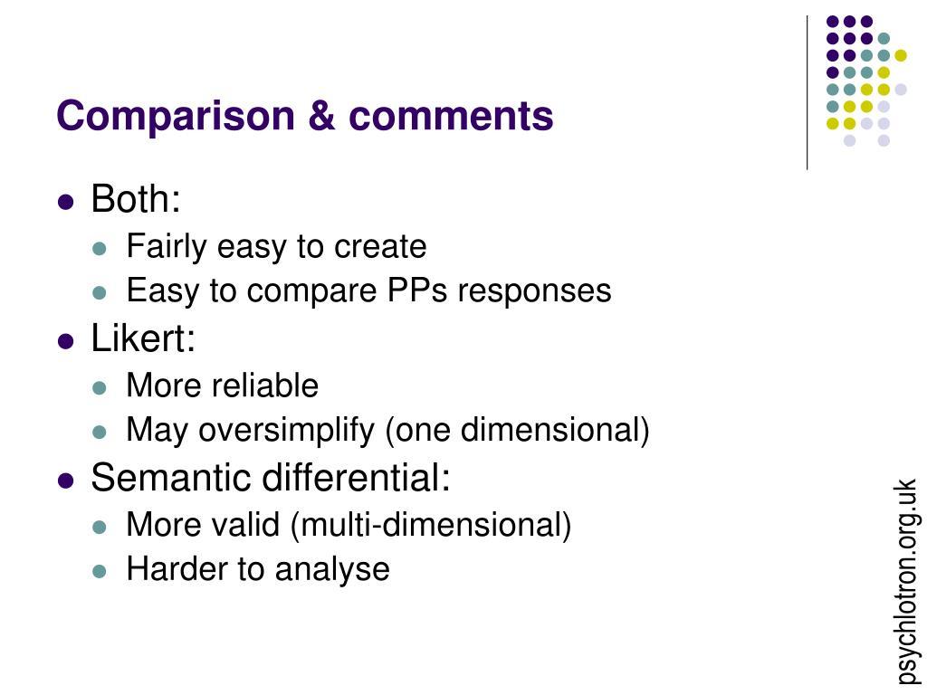 Comparison & comments