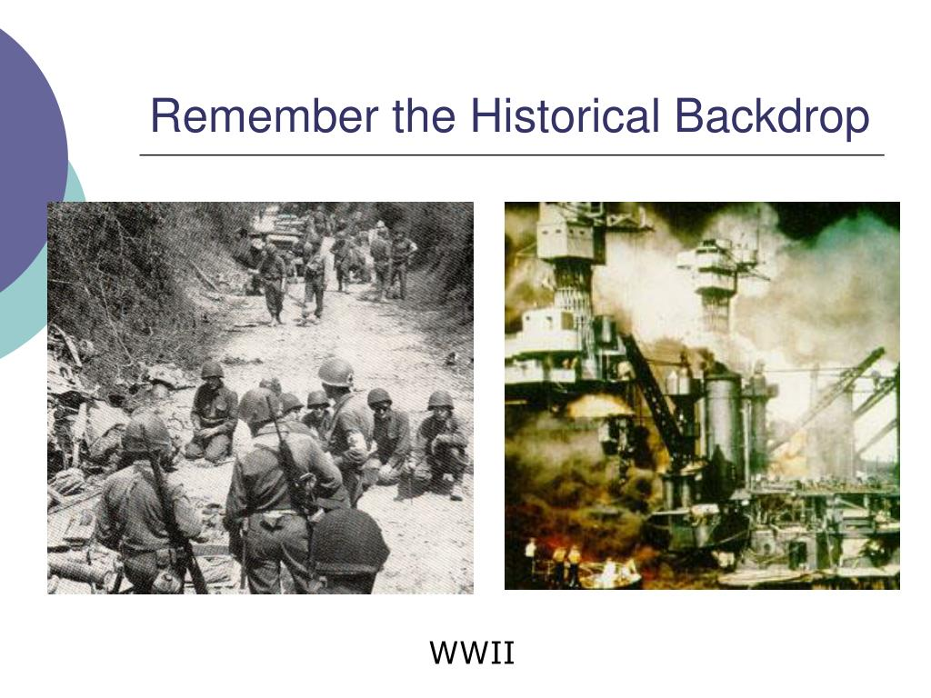 Remember the Historical Backdrop
