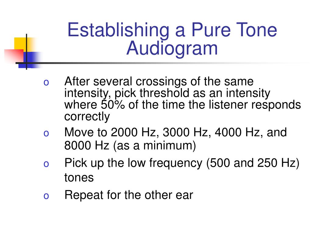 Establishing a Pure Tone Audiogram