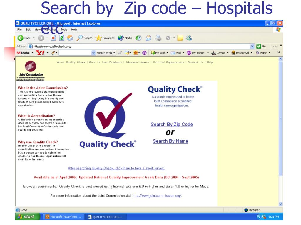 Search by  Zip code – Hospitals etc