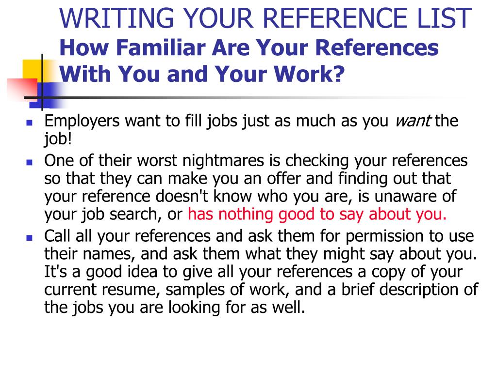 WRITING YOUR REFERENCE LIST