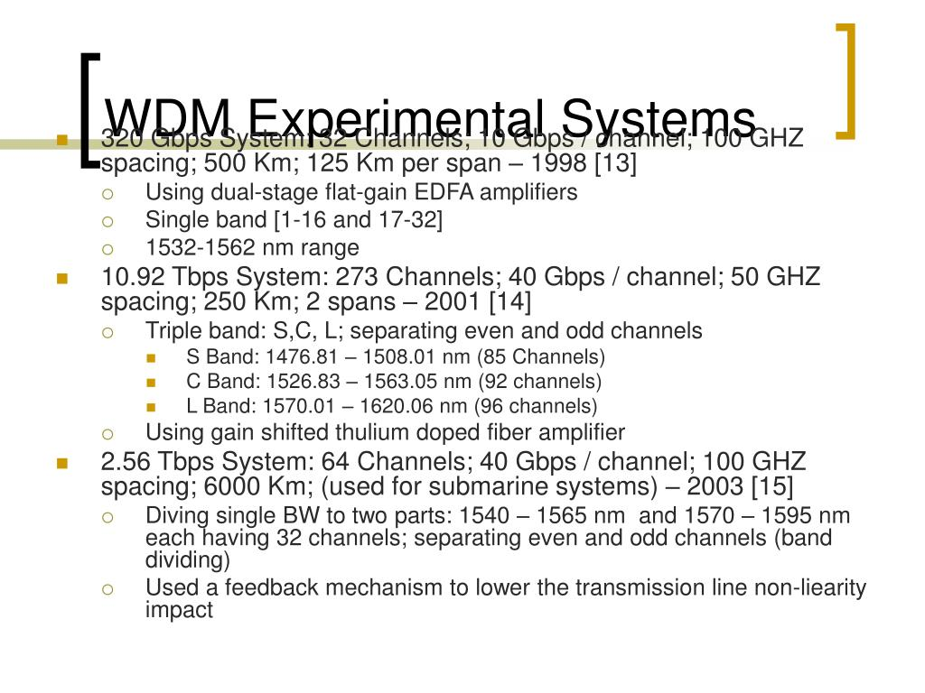 WDM Experimental Systems