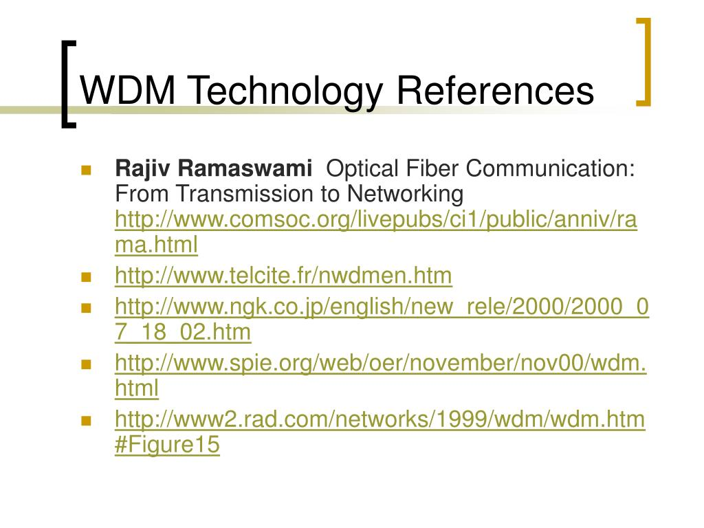WDM Technology References