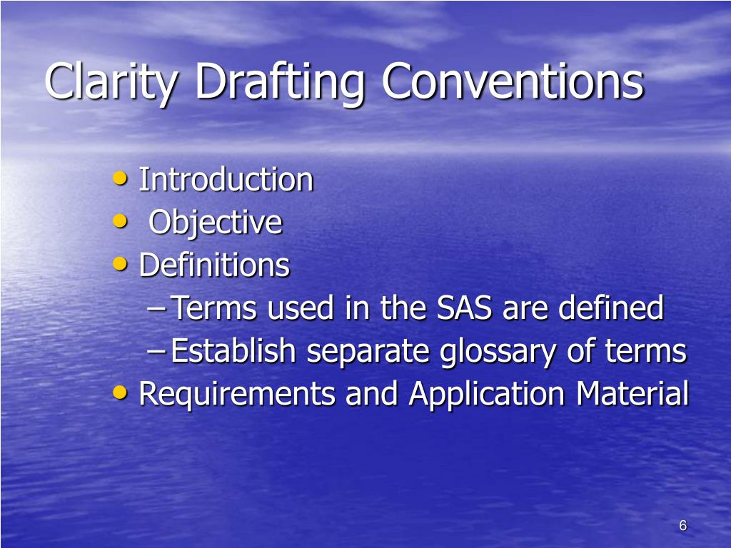 Clarity Drafting Conventions
