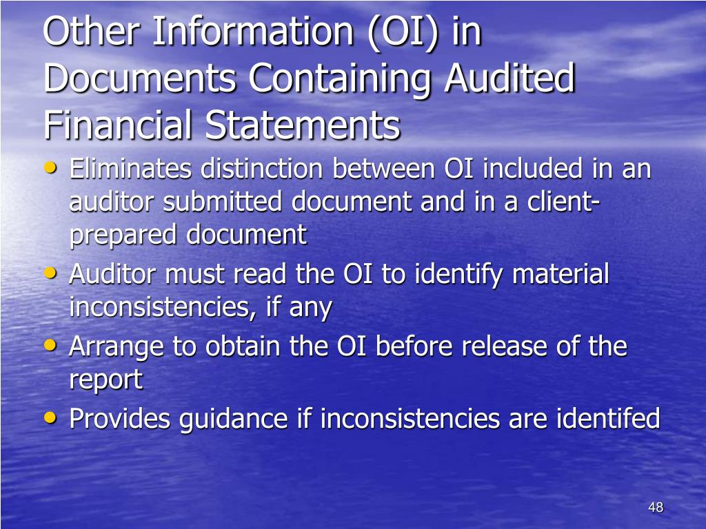 Other Information (OI) in Documents Containing Audited Financial Statements