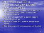 other information oi in documents containing audited financial statements