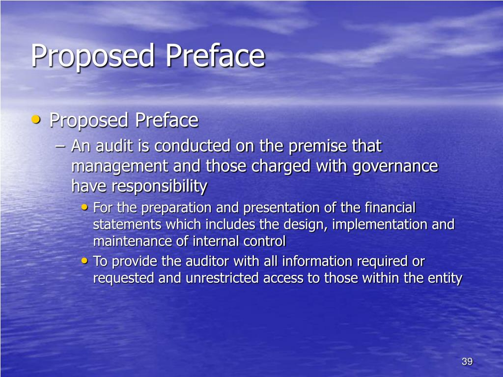 Proposed Preface