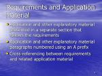 requirements and application material