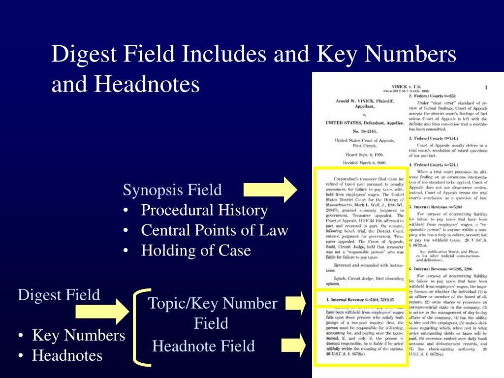 Digest Field Includes and Key Numbers and Headnotes
