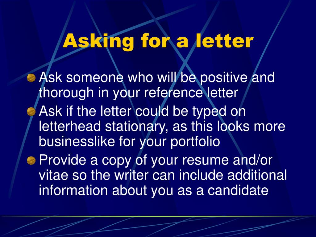 Asking for a letter