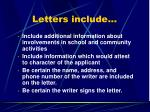 letters include