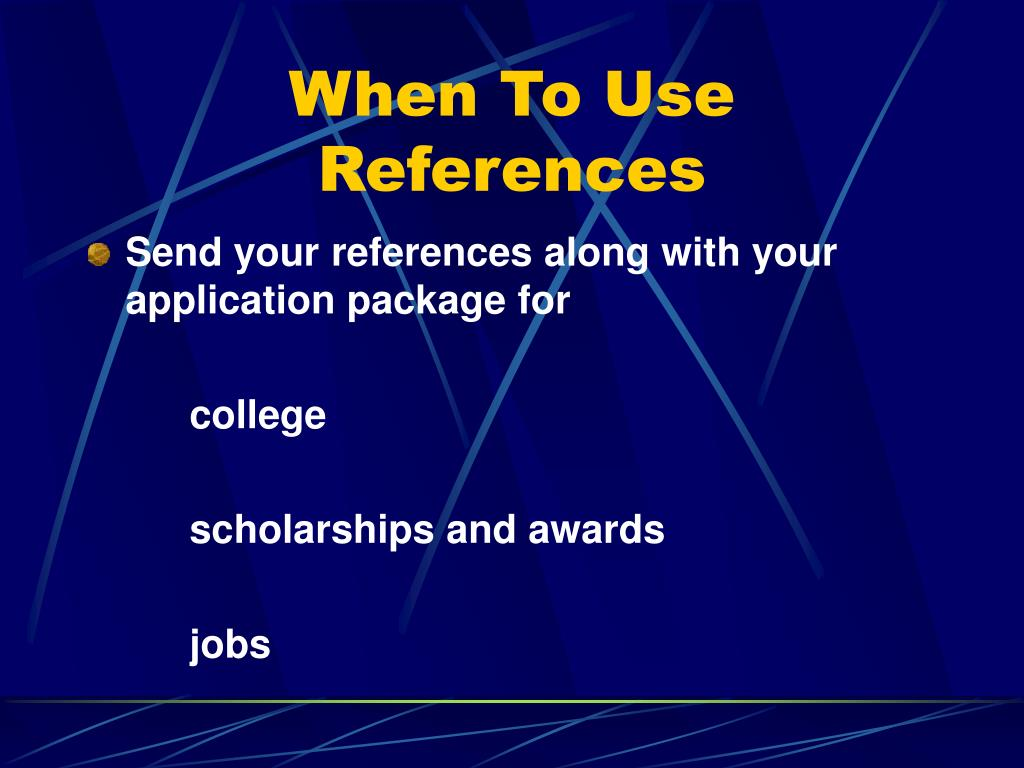 When To Use References