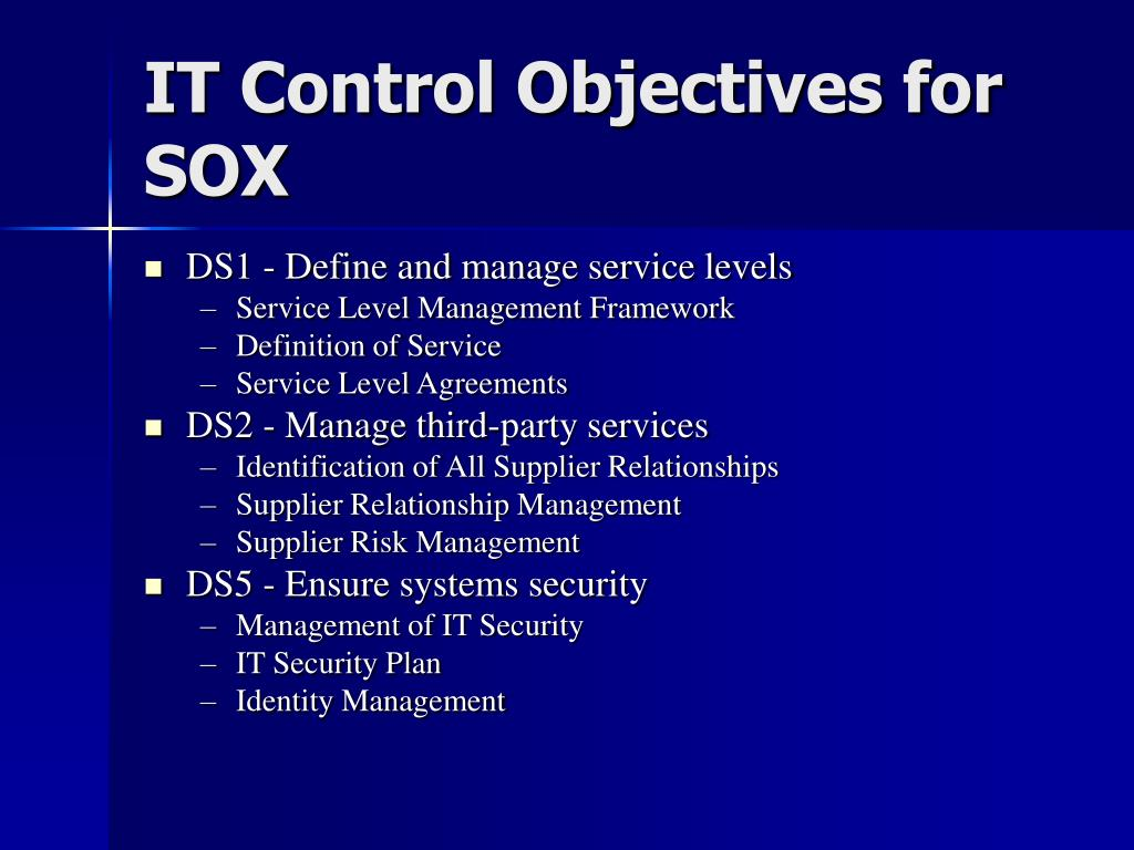 IT Control Objectives for SOX