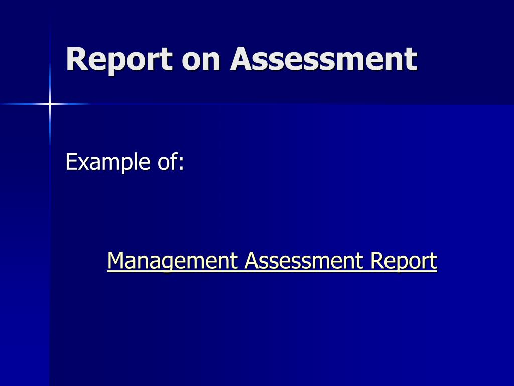 Report on Assessment