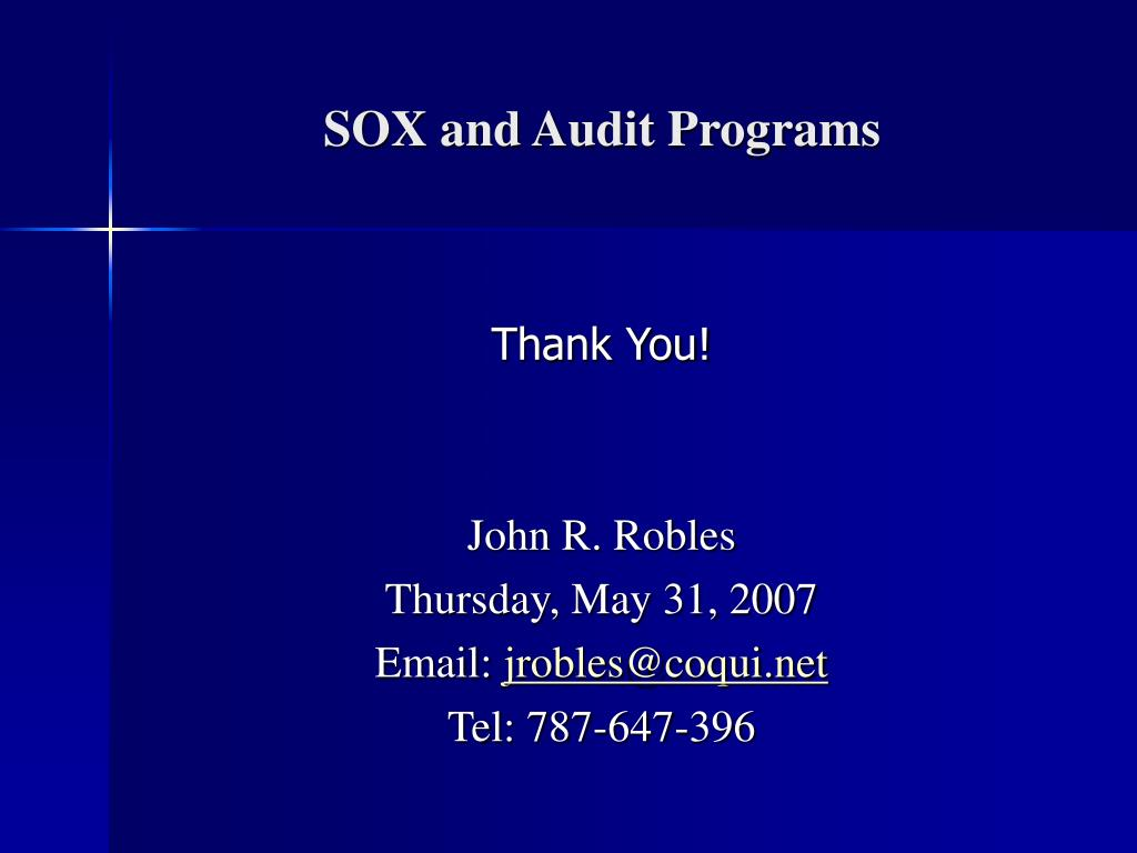 SOX and Audit Programs